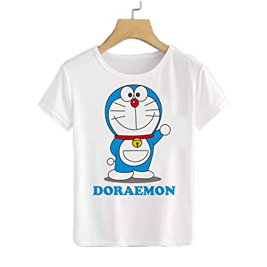 d9a30978 Doraemon Printed T Shirt for Boys /. Girls (Unisex) White, Polyster Sizes