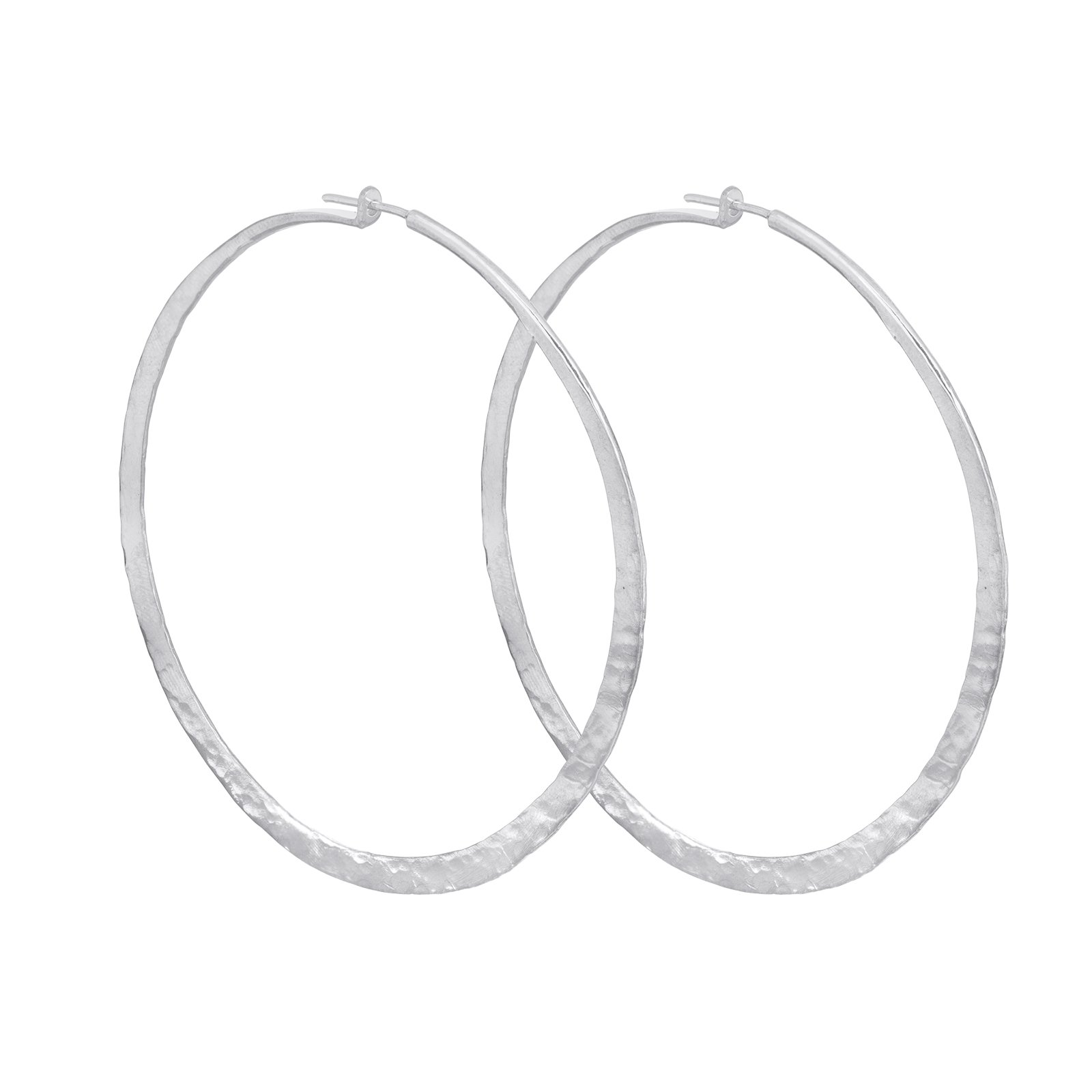 Sterling Silver Handmade Organic Hammered Hoop Large Earrings (3'' Diameter) (sterling-silver)