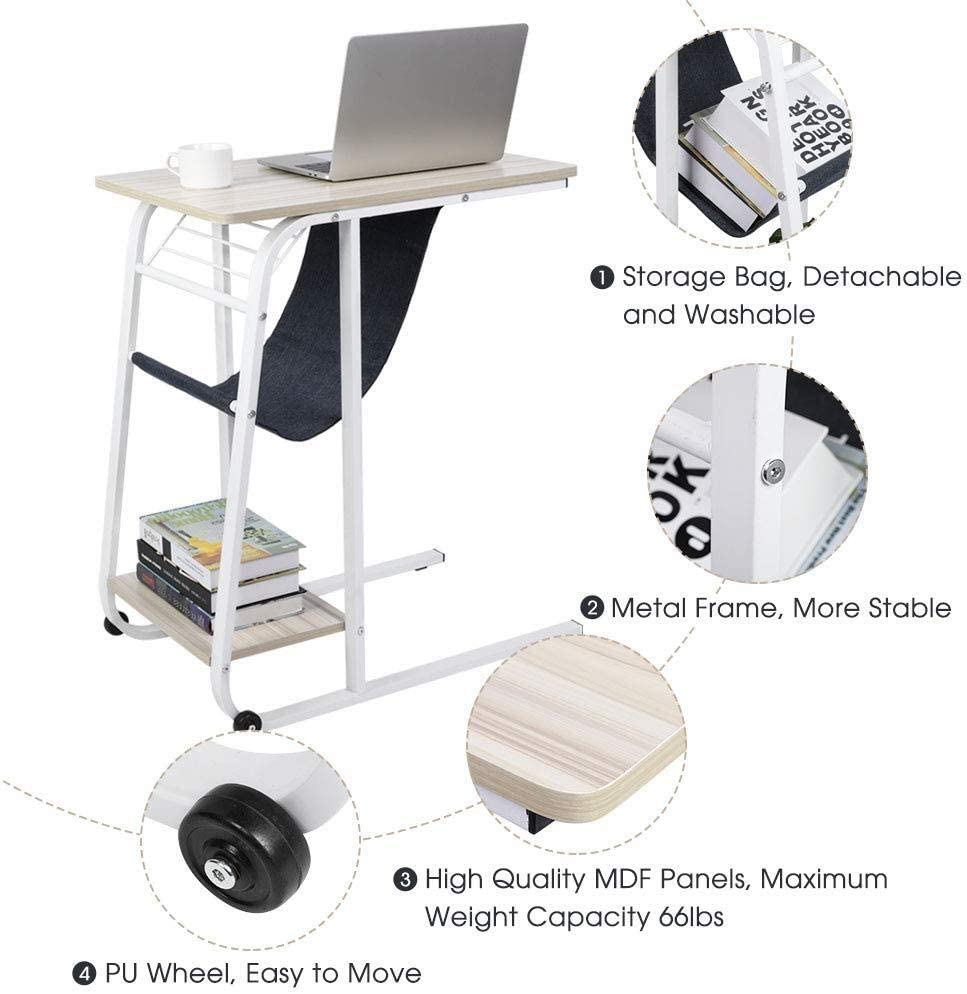 Laptop Desk,Portable Rolling Mobile Hospital Over Bed Table Laptop Computer Desk End Table Sofa Table with Rolling Wheel with Storage Shelves for Home Office Color : Black