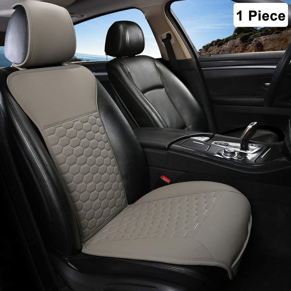 Black Panther 1 Pair Luxury PU Leather Front Car Seat Covers Breathable and Non-Slip Auto Seat Protectors for 95/% Car Seats Black