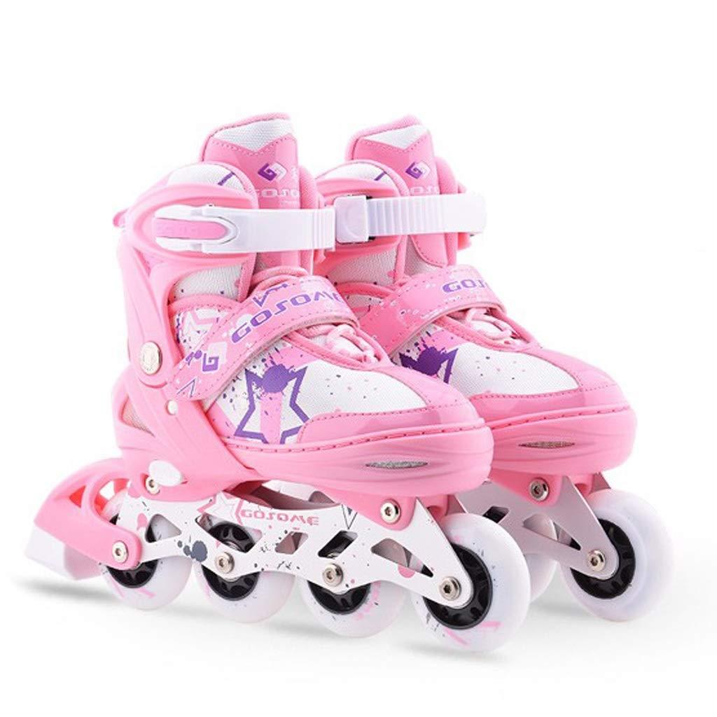 YANG 子供のための調節可能なインラインスケート、初心者、男の子、ピンクのスーツのためのすべての照らす車輪を特色にしたローラースケート (Size : M(EU 34 - EU 37))  M(EU 34 - EU 37)