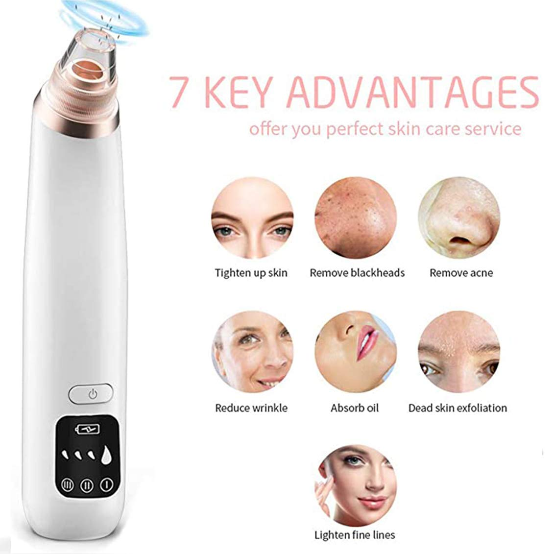 X-CHENG Blackhead Remover Vacuum - 2020 Upgraded Blackhead Suction Tool with Hot Compress - USB Rechargeable Pore Vacuum-Facial Pore Cleanser Suction Tool with LED Display-Suction Force for All Skin.: Beauty