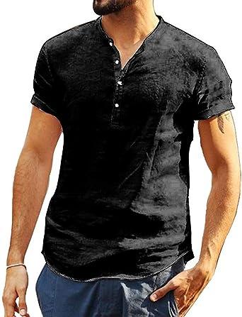 Loalirando - Camisa de hombre de manga corta y ajustada, para hombre, de color liso, de algodón (M-3XL): Amazon.es: Ropa y accesorios