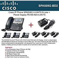 Cisco SPA508G 4PACK IP Phone 8-Line with PoE + 4PACK Power Supply PA100-NA