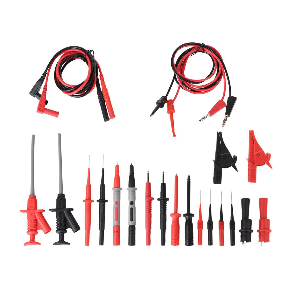 Test Probes Hooks Multimeter Test Leads,moonlux 22-Pieces Electronic Professional Test Leads Kit Includes Test Extension Alligator Clips