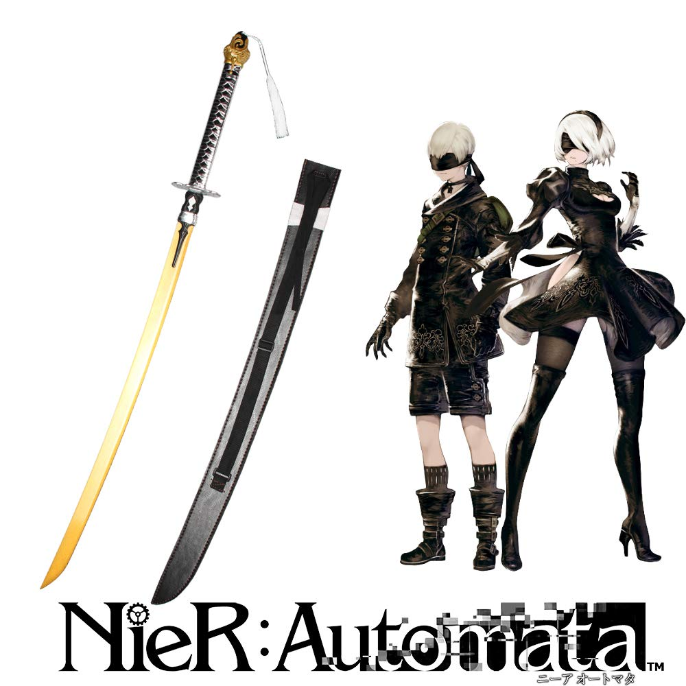 Amazon com yongli sword nier automata yorha no 2 type b 2b sword anime game real katana carbon steel cosplay sword gold sports outdoors