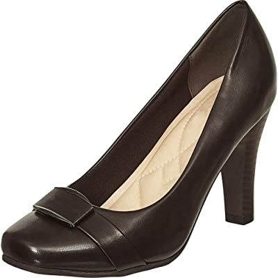 Cambridge Select Women's Square Toe Padded Comfort Tapered High Heel Pump | Shoes