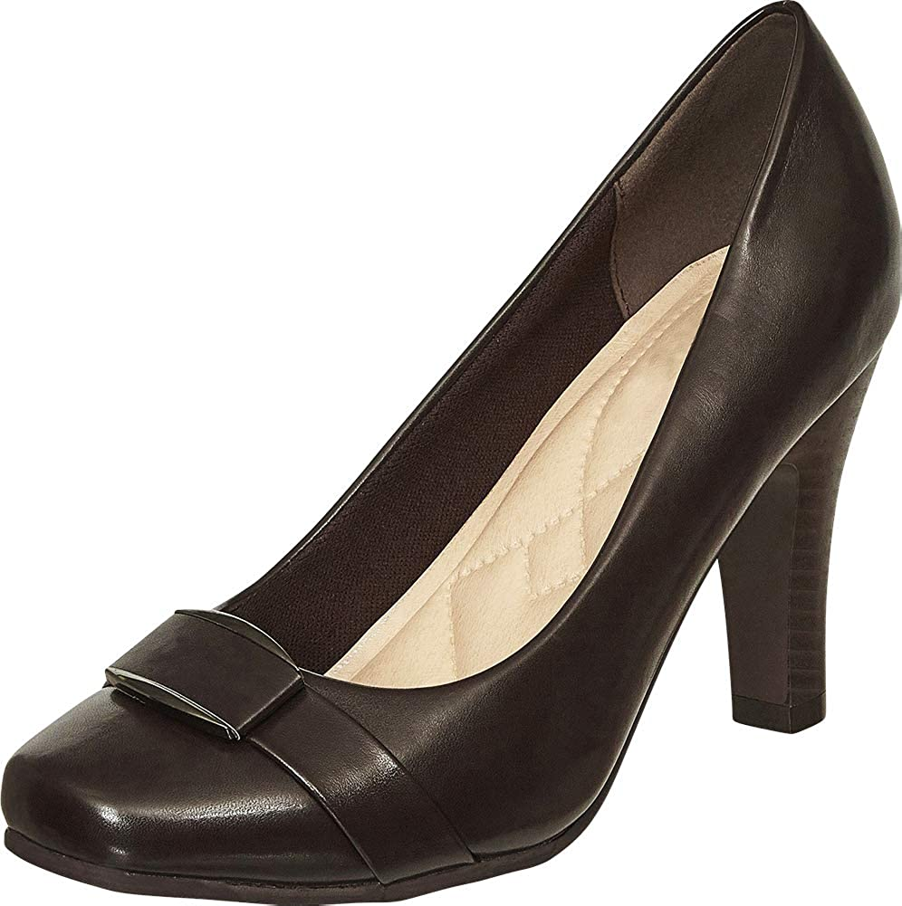 Brown Pu Cambridge Select Women's Square Toe Padded Comfort Tapered High Heel Pump