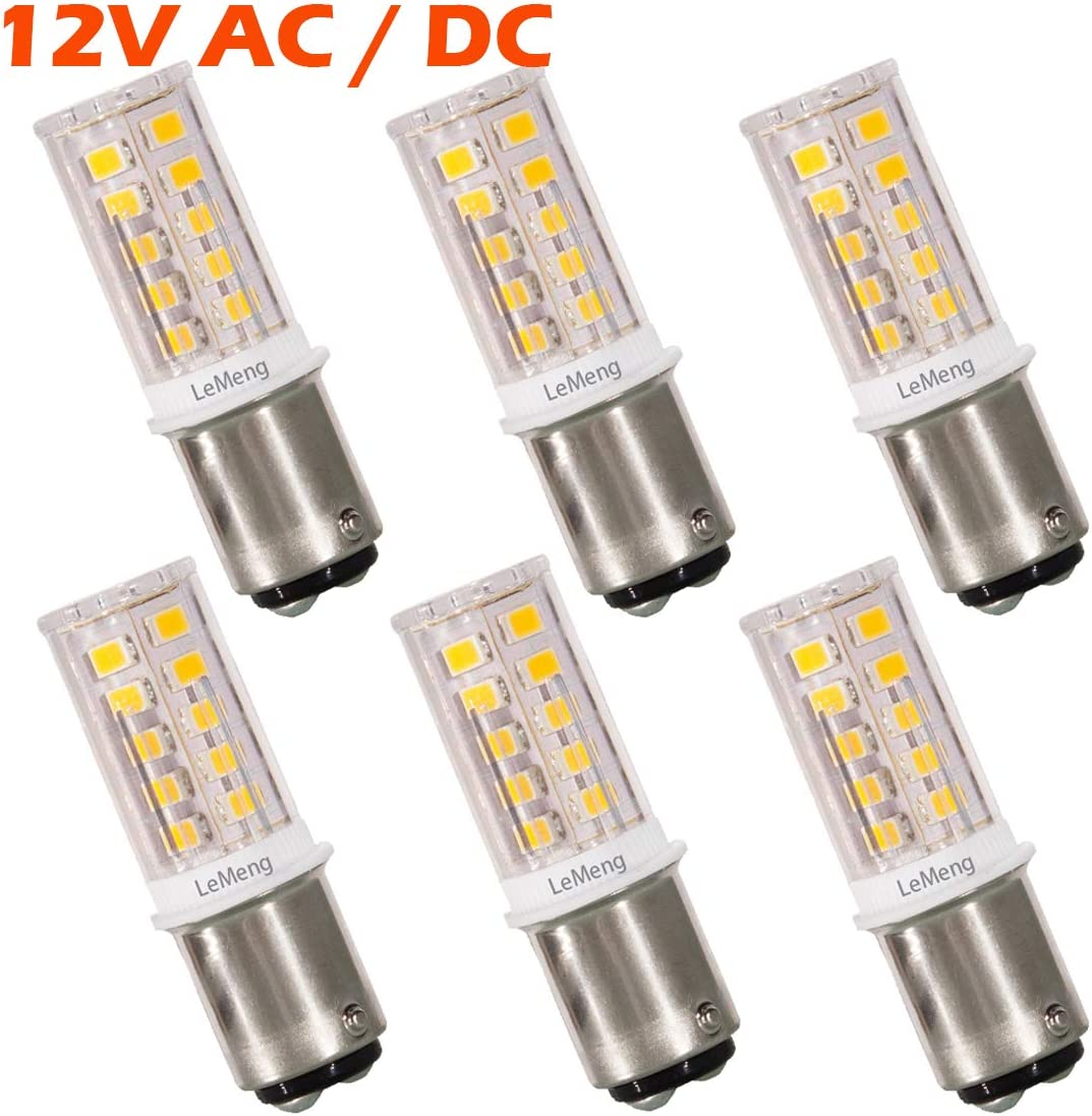 12V BA15D LED Bulb 1076 1142 1176 S8 3W 300Lm 2700K Warm White,DC Bayonet Double Contact Base, AC10-18Volt & DC10-30 Volts, Interior RV Camper Marine Boat Trailer Lights-6 Pack