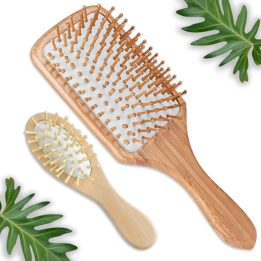 Natural Wooden Paddle Hair Brush   Free Mini Travel Brush - Eco-Friendly Bamboo Bristle - Detangling Hairbrush for Women Men   Kids - Massage Scalp   Anti-Static Comb - Dry or Wet Hair by FUNFUL HOME