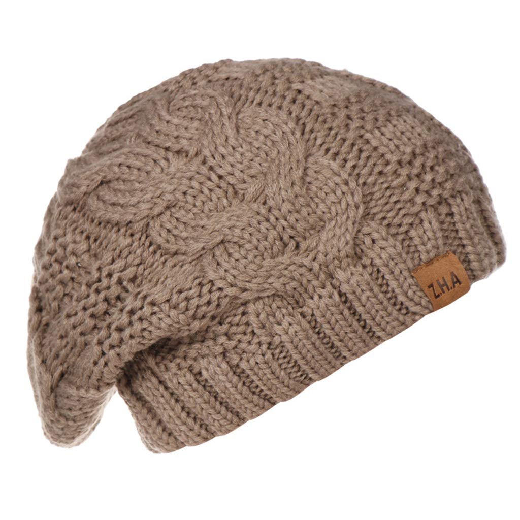 Lamdoo Womens Girls Stretch Hat Lavorato a Maglia Messy Bun Ponytail Beanie Holey Warm cap Inverno Oversized Soft Knitted Lazy cap Cambric Warm Knit cap -Beige