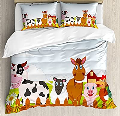 Ambesonne Animal Duvet Cover Set Queen Size, Cute Farm Creatures with Cow Horse Goat Pig and Chicken by the Fences Kids Cartoon, Decorative 3 Piece Bedding Set with 2 Pillow Shams, Multicolor