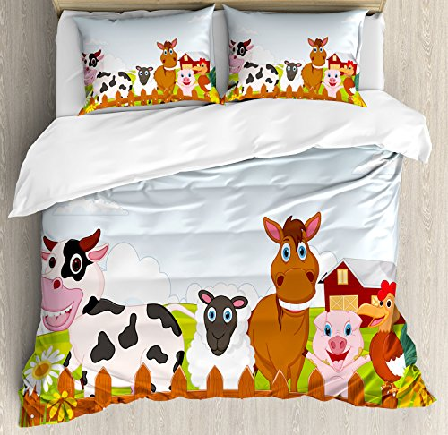 Animal Duvet Cover Set Queen Size by Ambesonne, Cute Farm Creatures with Cow Horse Goat Pig and Chicken by the Fences Kids Cartoon, Decorative 3 Piece Bedding Set with 2 Pillow Shams, (Family Farm Quilts)