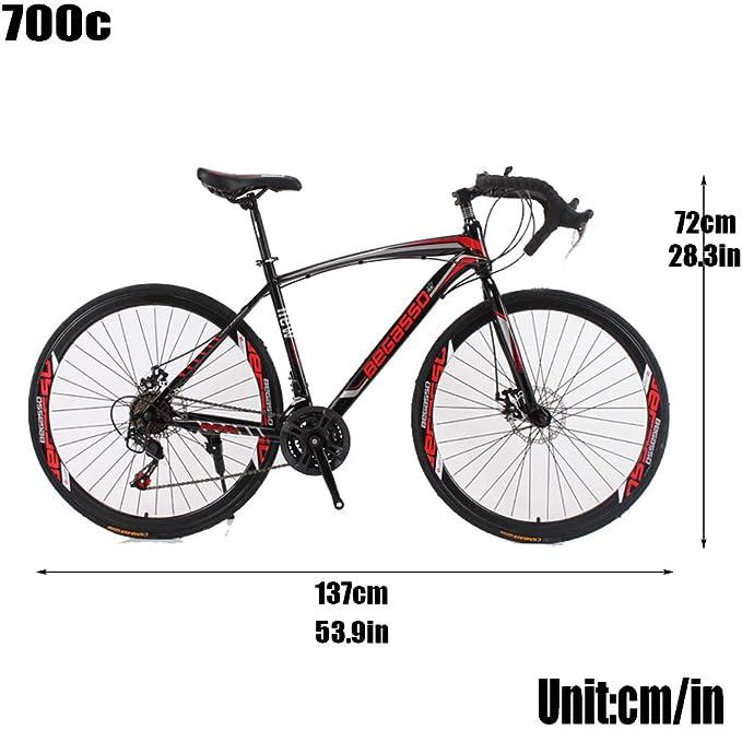 YBCN Ciclismo Bicicleta de Carretera 27 Pulgadas 21 Cambio de Velocidad Bicicleta de Carretera Doble Freno de Disco 700c flexión Estudiantes Adultos Viaje al Aire Libre,A: Amazon.es: Deportes y aire libre