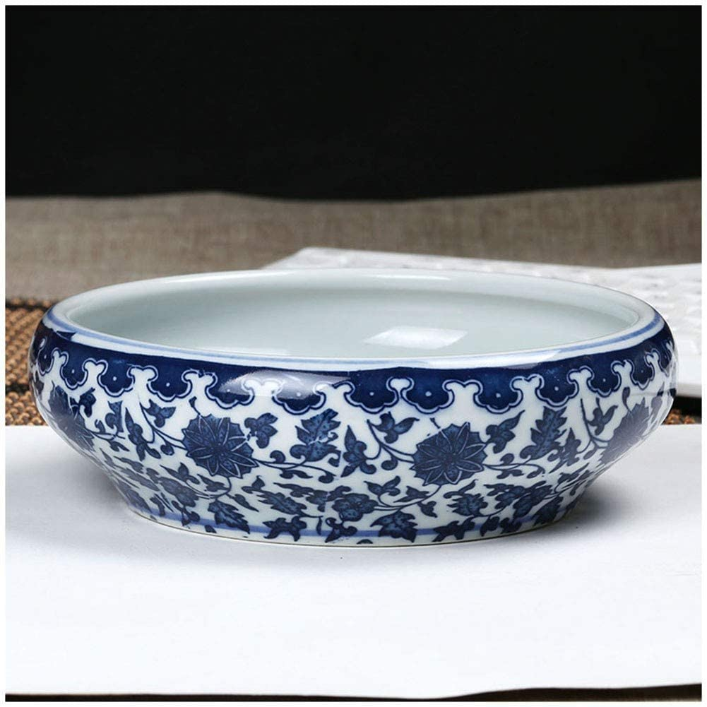 Living Room//Office Use Chinese Retro Desktop Blue and White Porcelain Ashtray 2 Styles Available Ceramic Ashtray Decorations//Gifts//Pen Wash