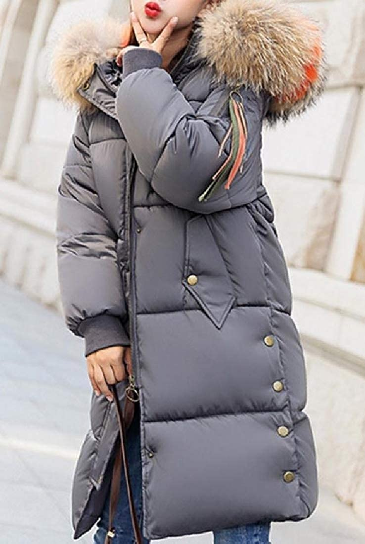 YUNY Womens Overcoat Hooded Down Parka Longline Cotton-Padded Clothes Grey S