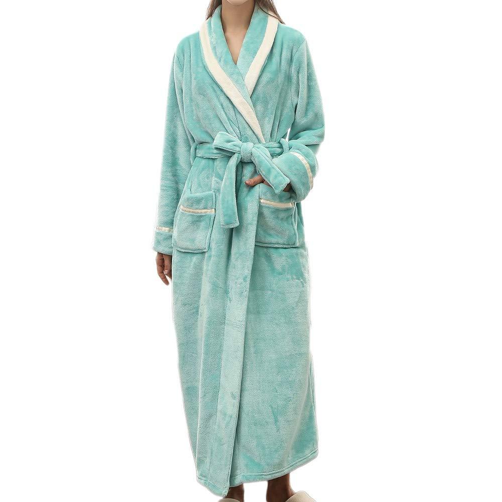 Women Fleece Robe with Satin Trim | Luxurious Plush Spa Bathrobe Waffle Design Mint Green