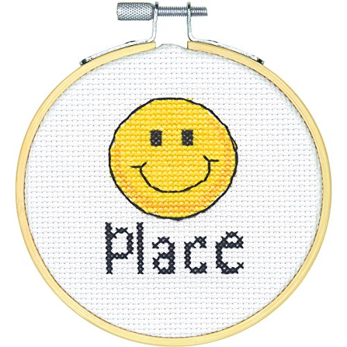 (Dimensions Happy Place Mini Counted Cross Stitch Kit for Beginners, 14 Count White Aida, 4''D)