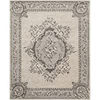 Safavieh Empire Collection EM414D Handmade Traditional European Beige and Light Grey Premium Wool Area Rug (76 x 96)