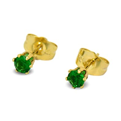 40094dbedb1d9 Blue Diamond Club - Tiny 9ct Yellow Gold Filled Womens Stud Earrings Girls  Round Small 4mm Emerald Green Crystals 6 Claws