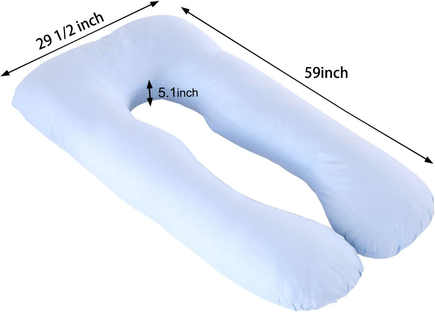 Sunfayzz Pregnancy Pillow,Maternity Body Pillow,U-Shaped Multi for Side Sleeping and Back Support with Removable Washable Cotton Cover Moon Blue 59 Inch Bed Pillow