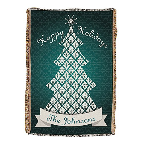 "Personalized Cotton Tapestry Throw (Personalized Christmas Tree Tapestry Throw, 54"" x 38"", Cotton/Poly)"