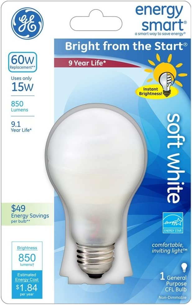 GE Lighting 42115 0 GE 15W SW A19 CFL Bulb, Soft White