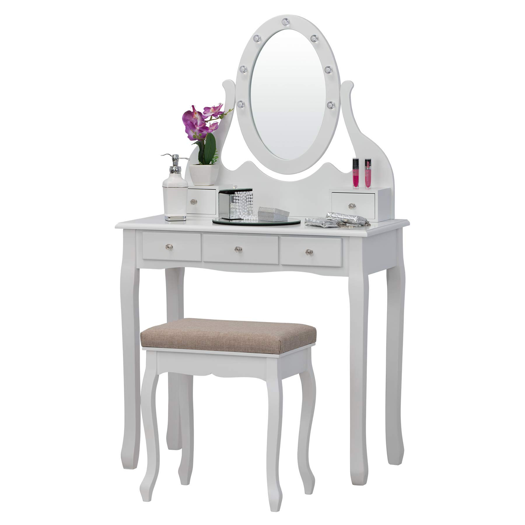 Fineboard FB-VT31-W Vanity Table Set with LED Mirror and Stool with 5 Drawers, White by Fineboard