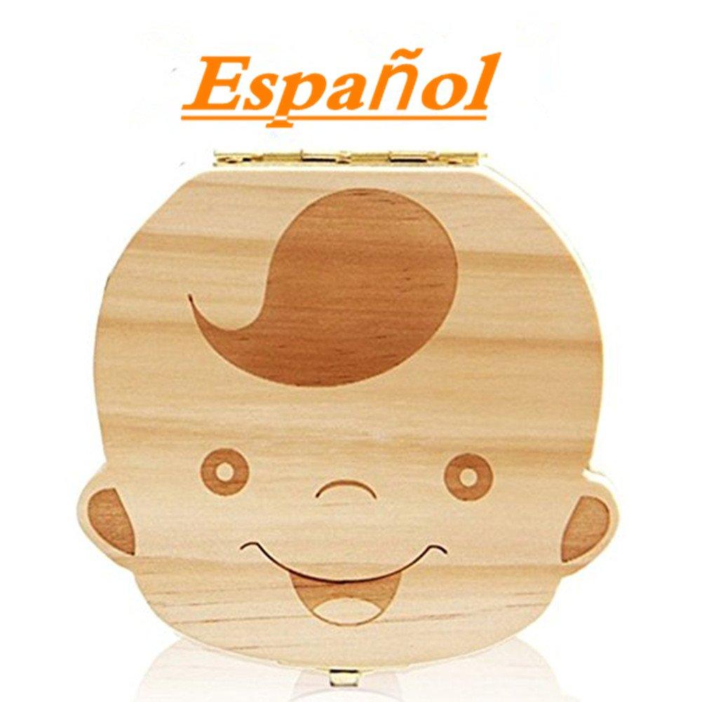 Westeng Caja Almacenamiento Madera Almacenaje para Dientes De Leche Niño Español,1Pcs product image