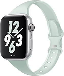 Acrbiutu Bands Compatible with Apple Watch 38mm 40mm, Slim Thin Narrow Replacement Silicone Sport Strap for iWatch SE Series 1/2/3/4/5/6, Seafoam 38mm/40mm