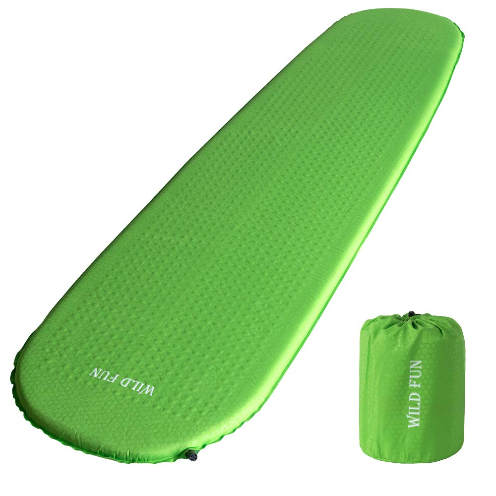 WILD FUN Self Inflating Camping Sleeping Pad Lightweight Inflatable Foam Sleeping Mat for Hiking, Backpacking, Traveling - 1.5'' Thick - Works Perfectly with a Mummy or Envelope Sleeping Bag
