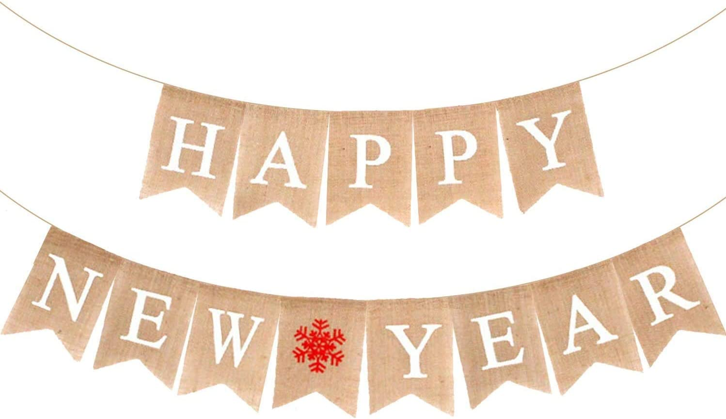 Happy New Year Burlap Banner Decorations - No DIY Required | Vintage Rustic Hanging Pennant Sign for New Years Eve Party Supplies Kit | New Years Eve Party Supplies | Happy New Year Party Decorations