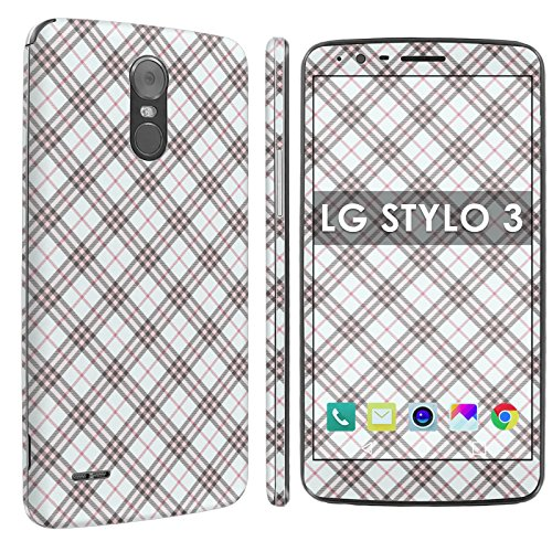 LG Stylo 3 Full Body Edge to Edge Skin Decal [Easy Apply] [No Bubbles Air Release] - [Light Pink Plaid] for LG Stylo 3 [5.7
