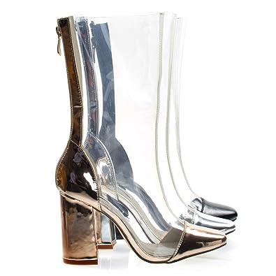 d11f64e41a0 Amazon.com | CAPE ROBBIN Lucite Clear Transparent Over Ankle Bootie ...