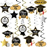 Arts & Crafts : Graduation Hanging Decorations Swirls Kit - Big Pack of 33   Beautiful Hanging Ceiling and Door Decoration for Graduation Party Supplies 2018   Graduation Decorations for High School Prom Grad Party