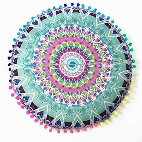 Photno Pillow Covers Indian Mandala Floor Pillows Round Bohemian Cushion Cushions Pillowcase Covers (Green) -