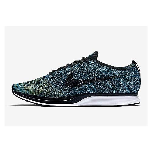best service d497c 9afa4 Amazon.com   Nike Mens Flyknit Racer Fabric Hight, Blue  Glow Black-Yellow Strike, Size 15.0   Fitness   Cross-Training