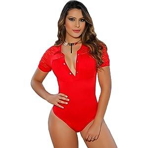 Aranza Blusa Faja Colombiana de Mujer Slimming Body Shaper Blouse Bodysuit Compression Red