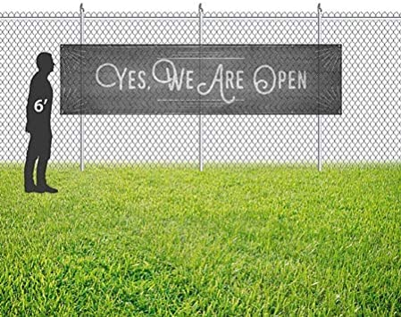 Yes We are Open CGSignLab 16x4 Chalk Corner Wind-Resistant Outdoor Mesh Vinyl Banner