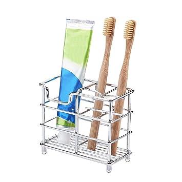 Soporte de acero inoxidable para cepillos de dientes, organizador de baño, soporte para pasta