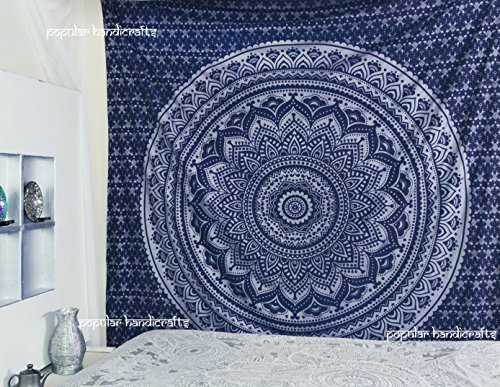 Popular Handicrafts New Launched Kp741 Original Silver Ombre Tapestry Mandala Tapestries Wall Art Hippie Wall Hanging Bohemian Bedspread with Metallic Shine Tapestries 84x90 Inches(215x230cms) Blue - Blue Tapestry