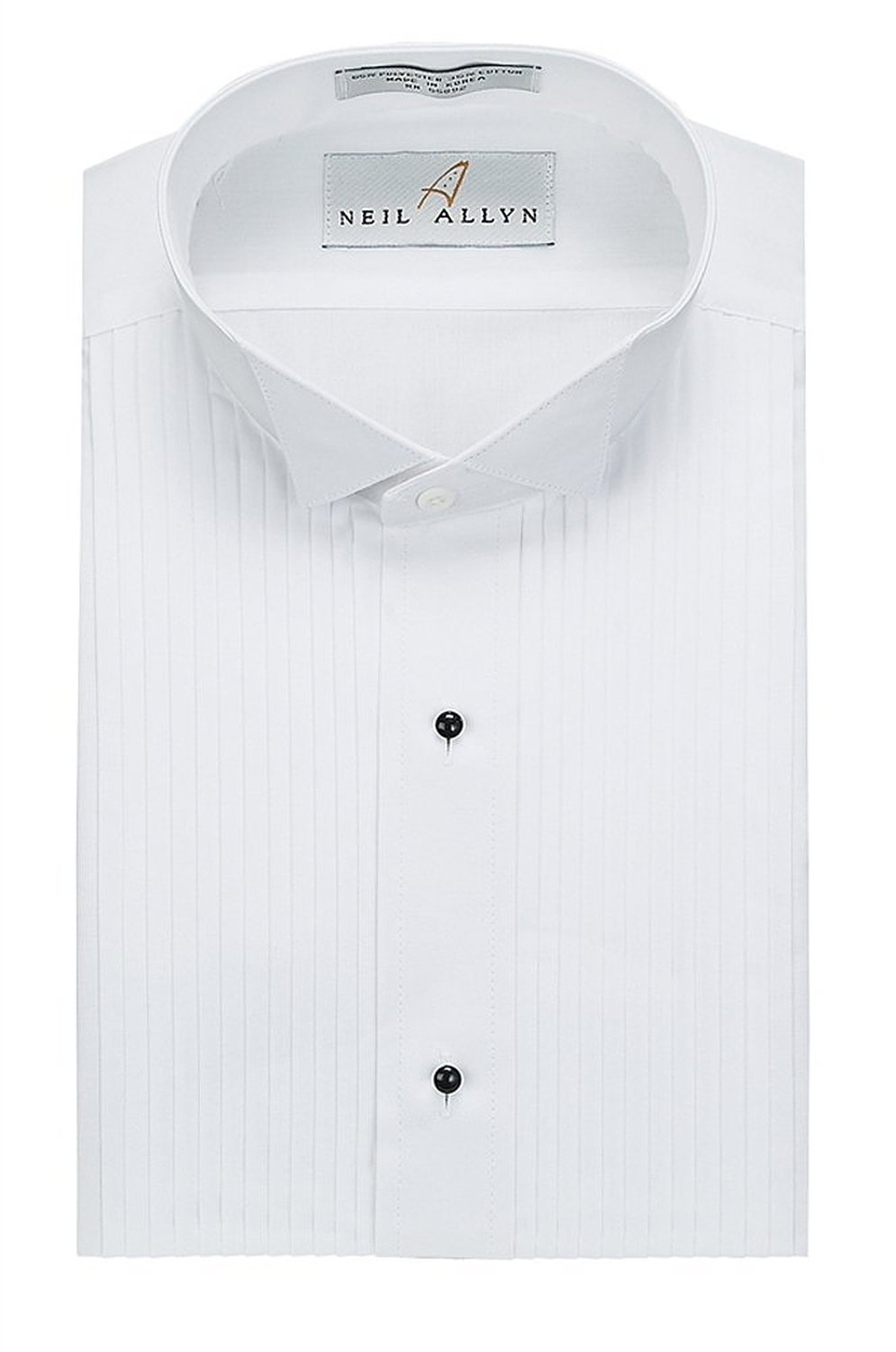 Neil Allyn Men's Tuxedo Shirt Poly/Cotton Wing Collar 1/4 Inch Pleat (22.5-34/35) by Neil Allyn