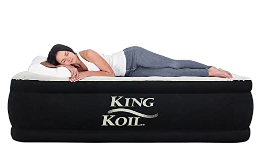 a7d457c9af760 Amazon.com  King Koil Twin Size Upgraded Luxury Raised Air Mattress Best  Inflatable Airbed with Built-in Pump - Elevated Raised Air Mattress Quilt  Top ...