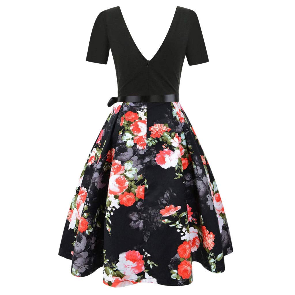 Rambling 2019 Womens 1950s Retro Vintage Cocktail Party Evening Swing Dress with Short Sleeve