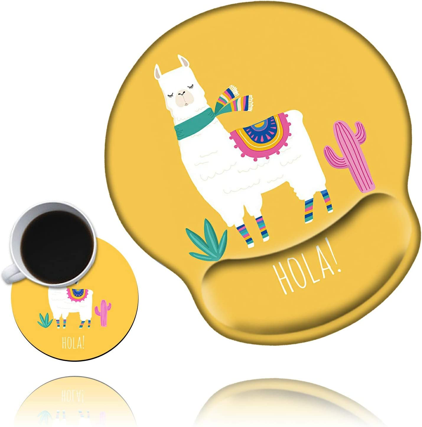 Ergonomic Mouse Pad with Wrist Support Gel Mouse Pad with Wrist Rest, Cute Gaming Mousepad Llama Yellow Design Smooth Surface Non Slip Base for Computer Laptop Mac Home Office with a Coasters