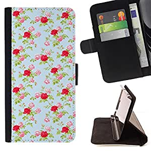 Jordan Colourful Shop - vintage wallpaper baby blue roses floral For Apple Iphone 5 / 5S - Leather Case Absorci???¡¯???€????€???????&