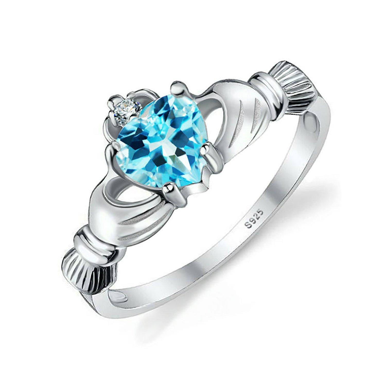 AYT Natural Swis Blue Topaz Irish Claddagh Ring Solid 925 Sterling Silver Friendship Heart Love Fine Jewelry November Birthstone 5.0