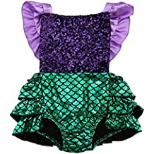 ONE's Baby Girls Sequins Mermaid Outfits Infants Backless Ruffle Romper Jumpsuit Outfits