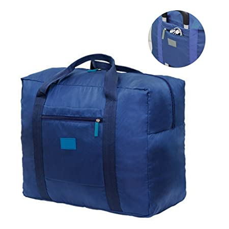 9e5c61b21ce Jooks Travel Tote Bag Foldable Duffel Bag Hand Baggage lightweight Luggage  Bag Suitcase Clothes Storage Bag Great for Camping and Gym Blue   Amazon.co.uk  ...