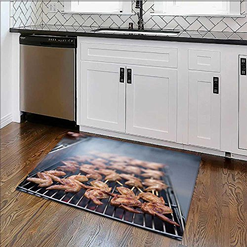 Non-Slip Bottom Street food Thai Barbecue grilled chicken for Bathrooms or Offices W22'' x H12'' by alsoeasy